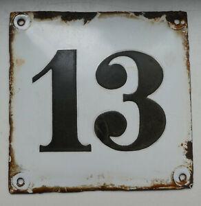 Hausnummer 13, Emailleschild, gewölbt, alt