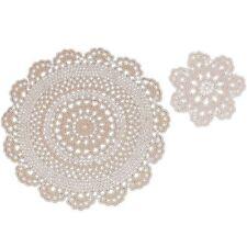 Handmade 100% Cotton Crochet Lace Beige Doilies 6 Inch Round (4 Piece Set)