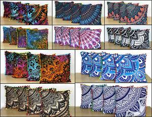 Mandala Flower Design Set Of 4 Pcs Small Cushion Cover Cotton Fabric Handmade