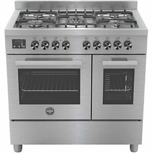 La Germania 90cm Twin Range Cooker Dual Fuel Stainless Steel LAG95MFED-XC