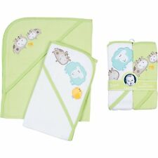 Gerber Hooded Towels 2-Count, Farm Animals, Green