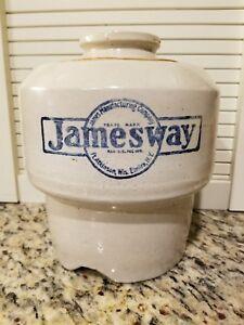 Antique Vintage Stoneware Jamesway Chicken Waterer Feeder Farm Advertising Crock