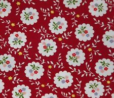 Rose and Hubble Red with Flowers 100% Cotton Poplin Fabric - By the Half Metre