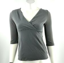 Merona Top Size XS Gray V Neck Surplice Stretch Solid 3/4 Sleeve Shirt Womens