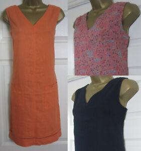 NEW Next Shift Tunic Dress Orange Navy Black Linen Blend Sleeveless Summer 8-16