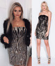 Black Gold Sequin Bardot Bodycon Evening Party Pencil Mini Dress £75 8