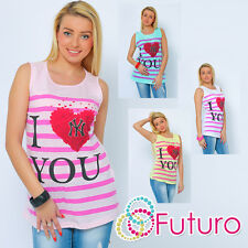 Ladies Vest Top I Love U Print Sleeveless Casual Cotton T-Shirt Sizes 8-14 FB81