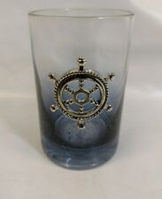 Nautical Bathroom Anchor Tumbler Blue Glass
