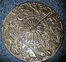 "Solid Brass Zodiac Theme Sundial - 9.5"" in diameter - HEAVY"