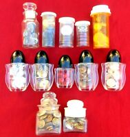 Lot of Vintage Sewing Buttons in Jars Mother of Pearl Military Brass Plastic