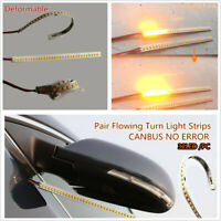 2 Pcs 32 LED Amber 12V Car Rear Mirrors Flexible Flowing Turn Signal Light Strip