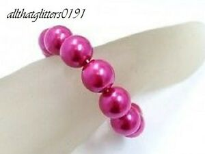 21mm Glass Pearl Stretch Bracelet Various Colours Available