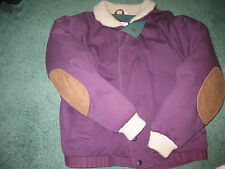 Duck Down Cotton Shell Jacket Real Leather Trim Collar & Cuffs Knit Zipper XL