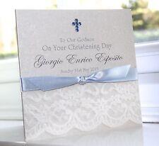 Personalised Handmade Christening Baptism Boy Card Lace Charlotte Elisabeth C006