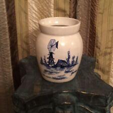 Vintage Hand Turned P R Storie Pottery  Utensil Crock Marshall Texas USA