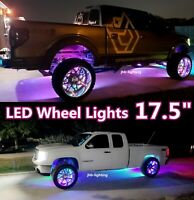 "17.5"" IP68 Pro Chasing Double Row LEDs Bluetooth App Control Wheel Rim Lights x4"