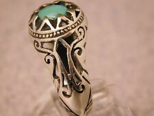 COSTUME DESIGN CARVE CUT HAND MADE MEN'S SILVER RING WITH NEYSHABOURI TURQUOISE