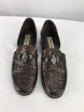 Brighton Women's Brown Leather Weaved Heel Shoes 7.5M
