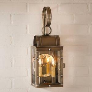 Double light Outdoor Wall Lantern in Weathered Brass