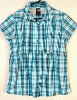 Women's The North Face Short Sleeve Blouse Blue Plaid Size L