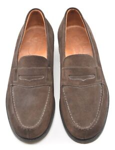 WORN 5x | JM WESTON 8D BROWN SUEDE 180 PENNY LOAFER DRESS SHOES