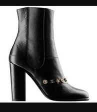 $1595 NIB CHANEL Black Leather Dallas Charms Booties Boots CC Star Coin 40 8 8.5