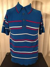 Vtg 1960s Red White Blue Striped Pullover Shirt M Acrylic Knit Raglan Rockabilly