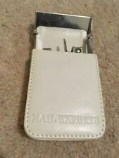 Avon Cosmetics Nail Experts kit white leather look case tweezers clippers