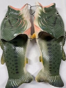 NWT Bass Fish Slippers Adult Medium M Father's Day Gift Fisherman Fishing Sandal