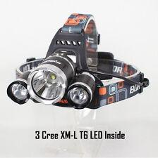 3 CREE XM-L T6 Headlight Zoom Head Torch Light Lamp Cycling Hiking Hunting