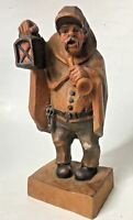 Carved Wood Night Watchman Figurine Estate Find