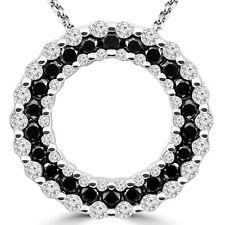 1 CT BLACK ROUND DIAMOND CIRCLE PENDANT NECKLACE 14K WHITE GOLD
