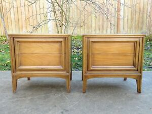 VTG 1966 Mid Century THOMASVILLE 2 DRAWER NIGHTSTANDS PAIR Side / Sofa Table