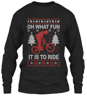 Mountain Bike Christmas Ugly Sweater Oh What Fun Gildan Long Sleeve Tee T-Shirt