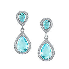 925 Sterling Silver Drop Dangle Pear Shape Aquamarine CZ Earrings Brides Maids