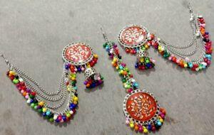 Indian Silver Oxidized Pearl Fashion Ethnic Bollywood Jhumka Maang Tika Earrings