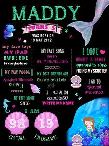 Mermaid Birthday Party Decoration Milestone Poster 1st chalkboard Ariel Sea