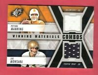 JOE MONTANA Peyton Manning 2 WORN JERSEY CARD 2014 SPX WINNING MATERIALS 49ers
