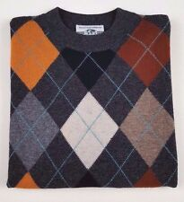 UNITED Colors OF Benetton SWEATER Argyle MENS Multicolor WOOL Blend ITALY Sz 46*