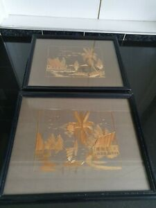 2 Vintage Straw Art Pictures Malaya