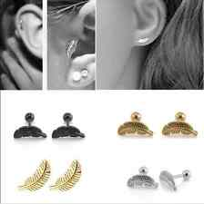 2X Feather Barbell Ear Cartilage Stainless Steel Helix Stud Bar Earring Piercing