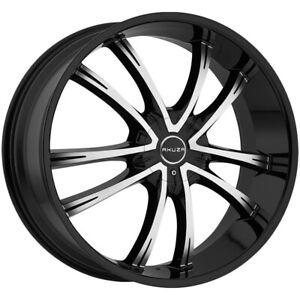 """Akuza 847 Shadow 20x8.5 5x115/5x120 +20mm Black/Machined Wheel Rim 20"""" Inch"""
