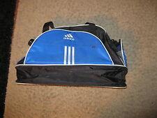"Adidas Ace Co. Blue Vintage Stripe duffel bag.  +/- 9"" x 14"" x 24"""