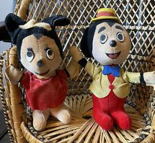 Vintage Gund Mickey & Minnie Mouse Toys. 1940/50. 16cm Tall