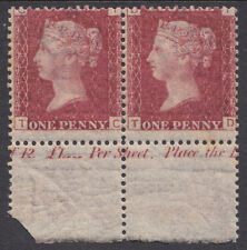 SG43/4 Plate 136 Position TC-TD inscriptional marginal pair very fine & fresh UM