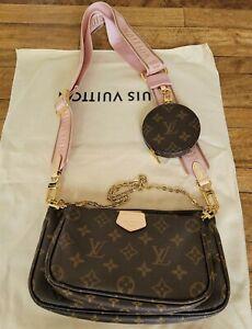 Louis Vuitton MULTI POCHETTE brown monogram Rose strap shoulder bag for woman