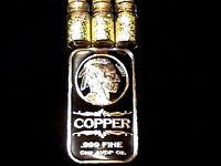 1 OUNCE .999 FINE COPPER BULLION INDIAN HEAD BAR + 3 JARS 24K GOLD FLAKES