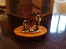 Miniature nativity scene Olive wood & silver colour Made in Italy Christmas