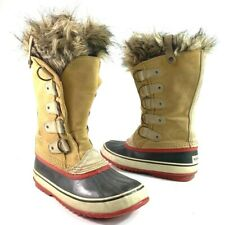 Sorel Womens Joan Of Artic Winter Boots Tan Leather Faux Fur Collar Waterproof 9