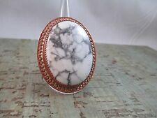 Vintage SIGNED Navajo K. Tsosie WHITE Buffalo TURQUOISE immense Copper Ring 7.75